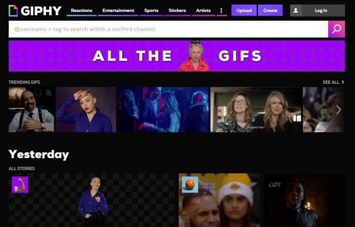 giphy.com para tus Historias de Instagram