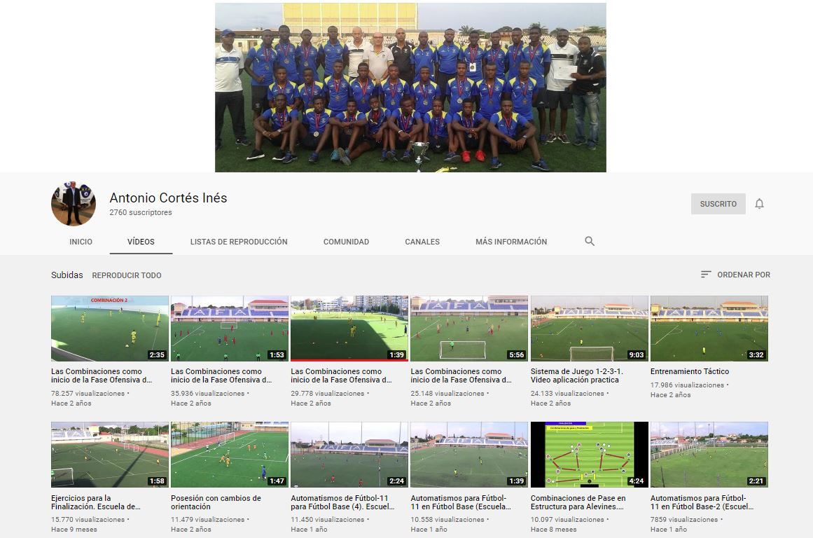 Canal de YouTube de Fútbol de Toni Cortés. 500K reproducciones